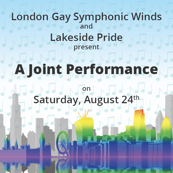 London Gay Symphonic Winds and Lakeside Pride join performance August 24th
